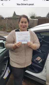 Congratulations to Sara on passing your test.